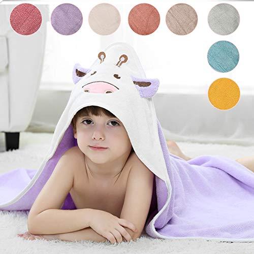 ZZUU badjas voor kinderen van 100% katoen voor meisjes en jongens, 0-6 jaar, met capuchon, effen