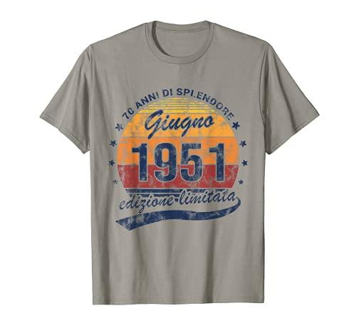 70 Anni Di Splendore Annata Giugno 1951 Compleanno Vintage Maglietta