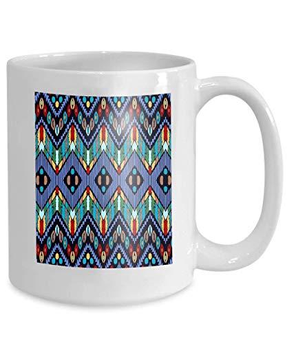 Tazas personalizadas - adorno tribal de cerámica blanca patrón africano alfombra étnica Chevrones estilo Azteca mosaico geométrico azulejo mayólica