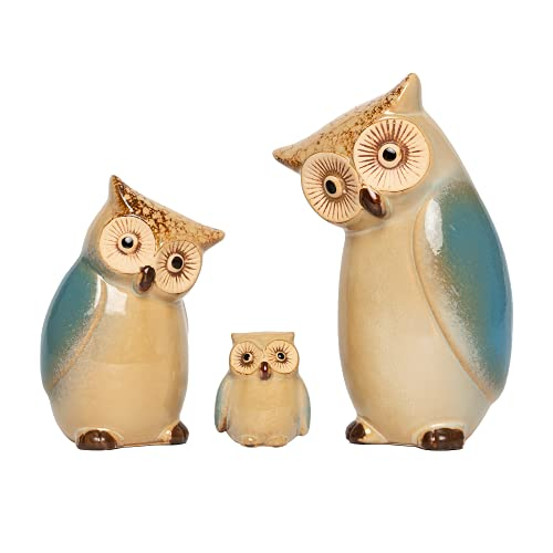 3pcs Ceramic Owl Statue  Owl Family Porcelain Figurine  Garden Animals Ornaments  Figurine Crafts Animals Statue Abstract Sculpture for Home Decor
