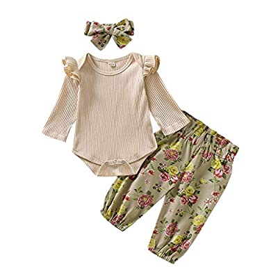 Baby Gifts,Infant Baby Girls Ruffles Solid Romper Bodysuit+Floral Pants+Headband Outfits