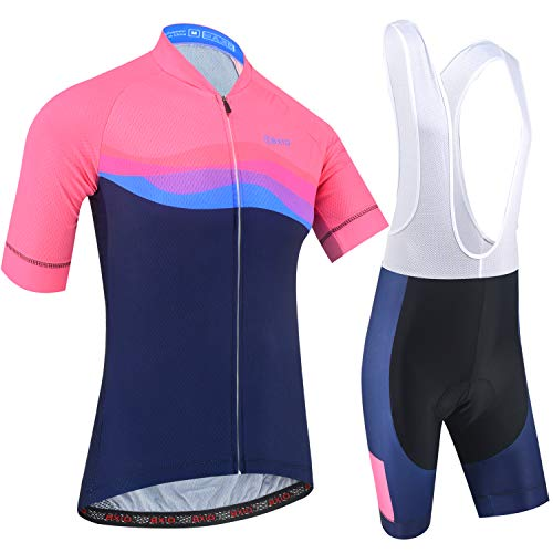 BXIO Ropa de Ciclismo para Hombre de Manga Corta 5D Gel Pad Bib Shorts Jerseys de Ciclismo MTB de Secado rápido 209 (Pink-Blue(209,Bib Shorts), XL)