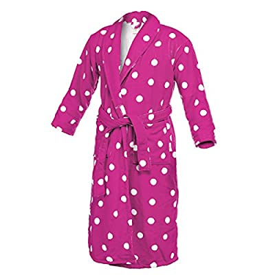 STAR Women's Polka Dot Bathrobe Microfiber Fleece Long Plush Robe
