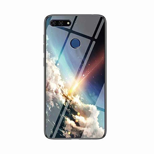 Miagon Glas Handyhülle für Huawei Y7 2018,Himmel Serie 9H Panzerglas Rückseite mit Weicher Silikon Rahmen Kratzresistent Bumper Hülle für Huawei Y7 2018,Wolke