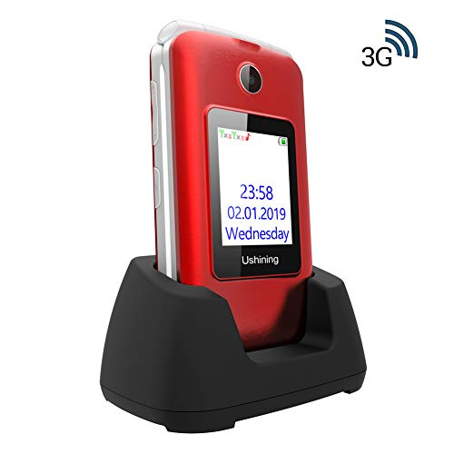 "Ukuu Teléfono para Personas Mayores 2.8""+1.8"" Dual LCD Pantalla 3G Teclas Grandes Telefonos Movil con Tapa Dual SIM Desbloqueo Alto Volumen (Rojo)"
