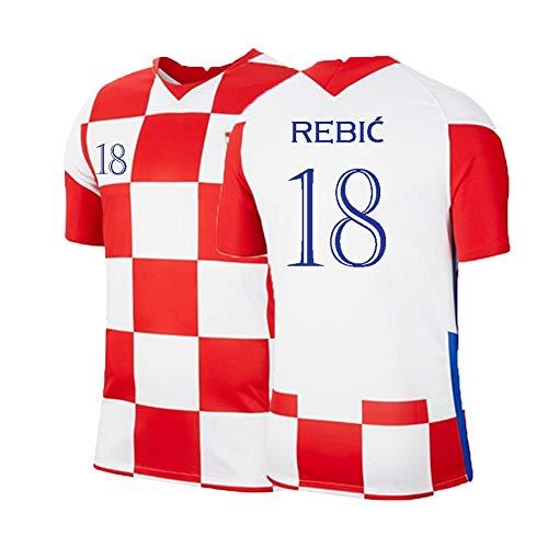 XH Herren Fußball Trikot Set, Ante Rebić # 18 Trainingskleidung T-Shirt, Erwachsenengröße, S-2XL (Color : Red+White, Size : S)