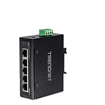 TRENDnet 5-Port Industrial Unmanaged Fast Ethernet DIN-Rail Switch, TI-E50, 5 x Fast Ethernet Ports, 1Gbps Switching Capacity,5 Port Network Fast Ethernet Switch,IP30 Metal Switch,Lifetime Protection