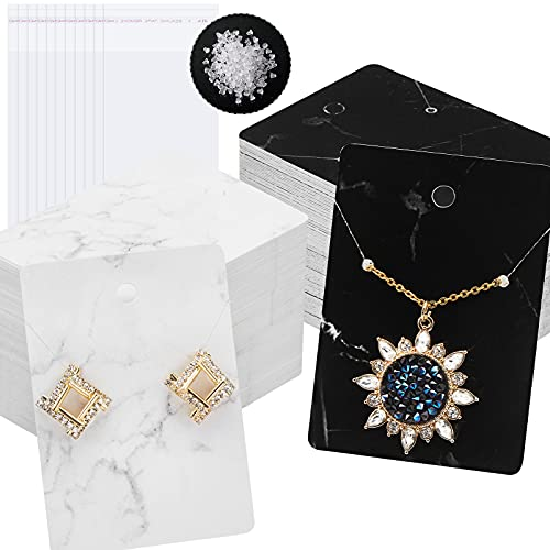 800 Pieces Marble Earring Card Holder Set, Include 200 Marble Earring Cards in 2 Color 200 Self-Seal Bags 400 Earring Backs for Jewelry Necklace Display Packing, 2.8 x 2 Inch