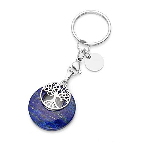 JSDDE Schmuck Natur Edelstein Schlüsselanhänger Lebensbaum Schlüsselring Taschenanhänger Chakra Yoga Energie Heilstein Glückbringer Keychain (Lapislazuli)