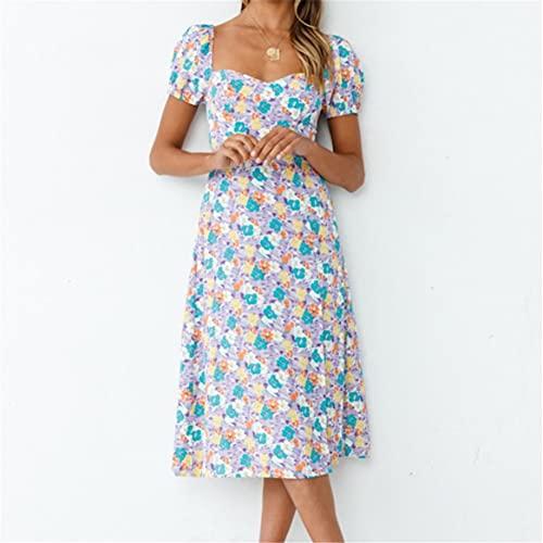 JFTMY V-Ausschnitt Kleid Sommer Frau Sexy Rock Kurzarm Square Hals Print Split Kleid Komfortable und atmungsaktive Holiday Streetwear (Color : Multi-Colored, Size : XLcode)