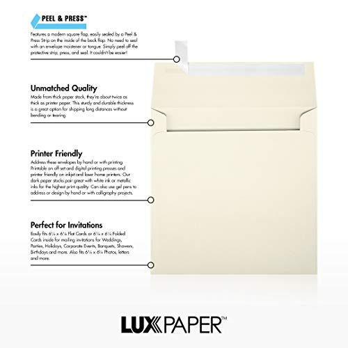 LUX Paper Square Invitation Envelopes for 6 1/4 x 6 1/4 Cards in 70 lb. Natural, Printable Envelopes for Invitations, with Peel & Press Seal, 50 Pack, Envelope Size 6 1/2 x 6 1/2 (Off-White) Photo #8