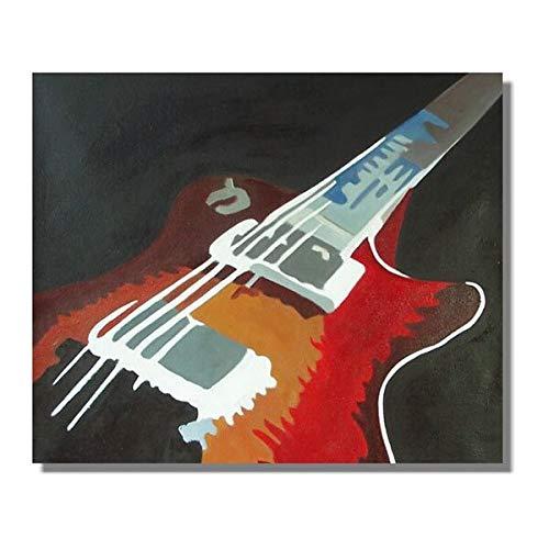 JXFFF 30x30cm (sin Marco) tamaño Personalizable en 3D Arte Moderno Pintura al óleo Lienzo Guitarra Abstracta en la decoración de la Sala de Estar Pintura grupal Colgante