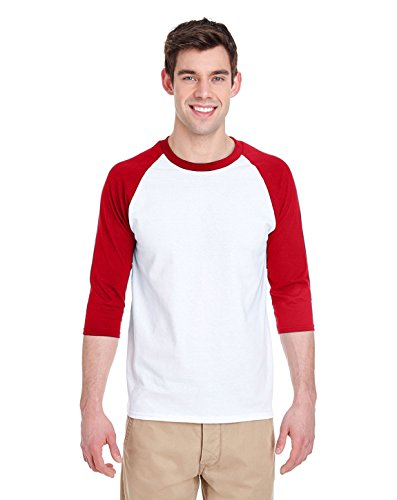 Gildan Adult Heavy Cotton 53 oz, 3/4 Raglan Sleeve T-Shirt - WHITE/ RED - XL - (Style # G570 - Original Label)
