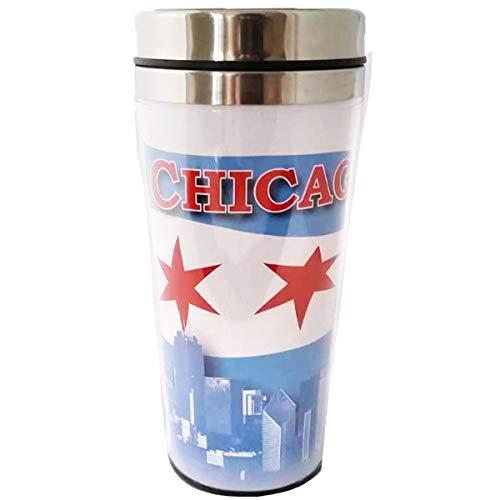 The City of Chicago Skyline Waving Flag of Chicago Souvenir Travel Mug Stainless Steel Outdoor Insulated Mug