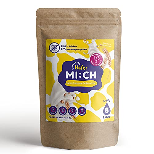 Drink MI:CH Haferdrink Glutenfrei 1000 g, Hafermilch zum selber Mixen, Ergibt bis zu 8 Liter, 85{6953947e5d5994cd43a61cf70651cc84cab5340341db2fc51eff538c688a132d} weniger Verpackungsmüll, Ohne Zuckerzusatz, Ohne Zusatzstoffe