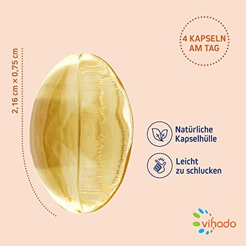 Vihado Omega 3 Fischöl-Kapseln, Omega-3 Fettsäuren hochdosiert + Vitamin E, 120 Kapseln, 1er Pack (1 x 85,8 g) - 4