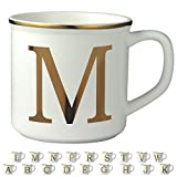 Miicol Gold Initials 16 OZ Large Ceramic Coffee Mug Tea Cup for Office and Home Use, Perfect Monogram Gifting or Collecting, Capital Letter M