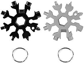 Varadyle 2Pcs 18 in 1 Snowflake Multi-Tool Outdoor Travel Camping Multi-Function EDC Key, Steel Multi-Tool