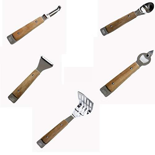 Juego de utensilios de cocina de 5 piezas, herramienta de cocina de acero inoxidable con mango de madera maciza para cocinar y hornear