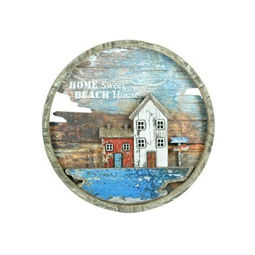 CAPRILO Cuadro Decorativo Marinero Redondo Home Sweet-Beach House. Adornos y Apliques. Decoración Hogar. Regalos Originales. Pinturas. 39 x 39 x 3.5 cm.