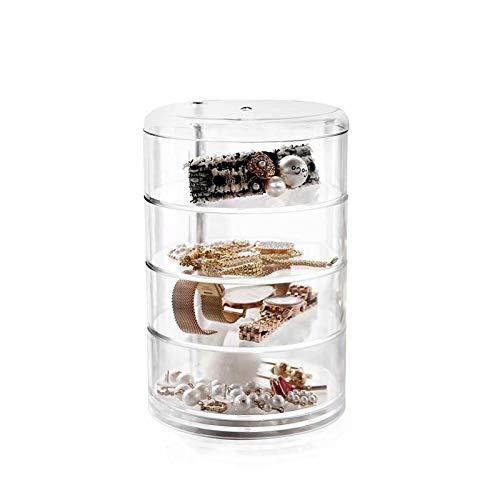 Boîte de rangement pour cosmétiques, bijoux, ronde, avec couvercle, acrylique transparent, rotatif