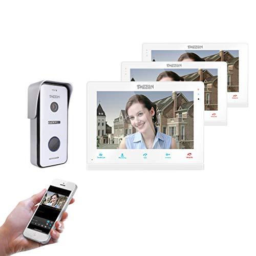 TMEZON 10 pulgadas de pantalla táctil inalámbrica/wifi IP inteligente Video puerta teléfono Timbre de la puerta Intercomunicador Sistema de entrada con 720P HD cámara(3M1C)