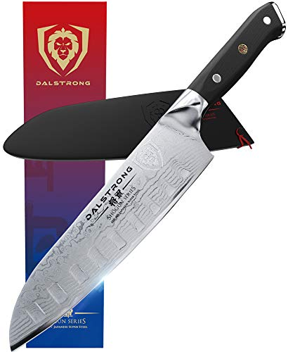 DALSTRONG Santoku Knife - Shogun Series - Damascus - Japanese AUS-10V Super Steel 67 Layers - Vacuum Treated - 7' (180mm)