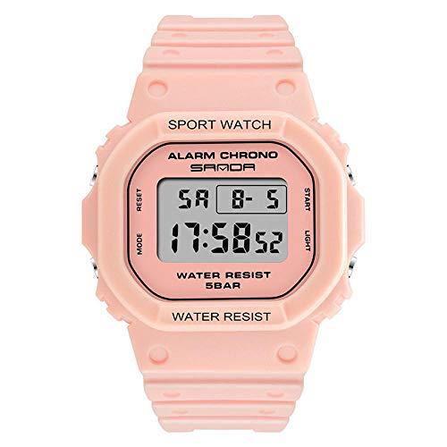 SANDA Reloj Hombre,Reloj Deportivo Impermeable electrónico Multifuncional Cuadrado Nuevo Reloj de Pareja de Tendencia de Moda para Estudiantes jóvenes-Polvo de Flor de Cerezo