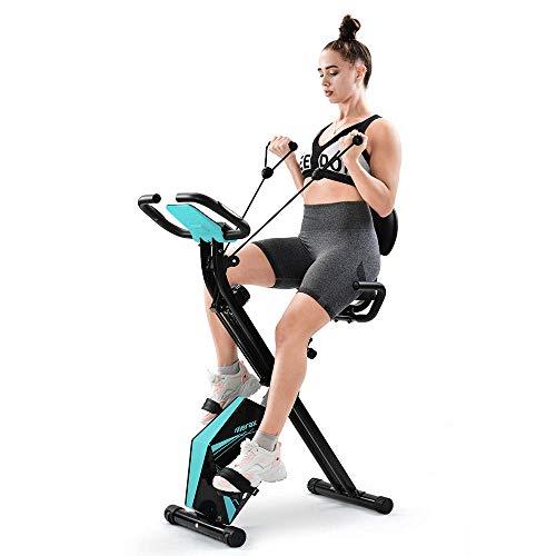 Heimtrainer Fahrrad Klappbar Unisex F-Bike Advanced 4 in 1 Fitness Bike Hometrainer Fahrrad mit Rückenlehne und LCD-Display Magnetic Exercise Bike Fitnessbike Indoorcycling Bikes mit Expanderbänder