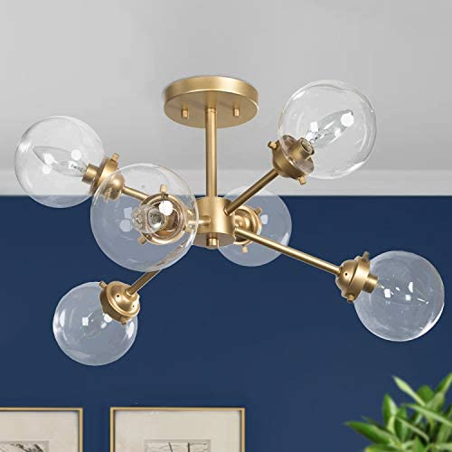 KSANA Gold Semi Flush Mount Ceiling Light Gold Chandeliers for Dining Rooms Kitchen Living Room product image