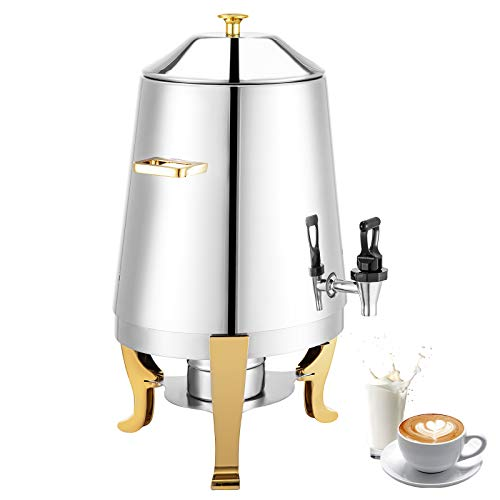 VBENLEM Chafer Urn 3 Gallons Coffee Chafer Urn Spirit Lamp Heating Elegance Coffee Urn Stainless Steel Beverage Urn Heavy-Duty Large Hot Beverage Dispenser for Both Hot & Cold Drinks with Gold Accents