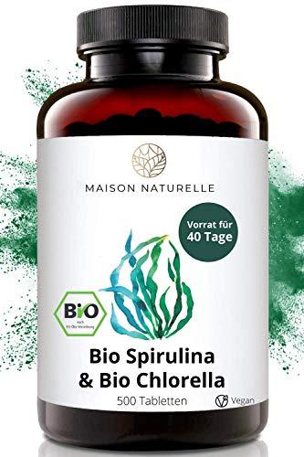 MAISON NATURELLE® Bio Spirulina & Chlorella Mix Presslinge (500 Stück) - Hochdosiert mit 2400mg...