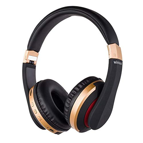TSAUTOP Newest Wireless Headphones Bluetooth Headset Foldable Stereo Gaming Earphones With Microphone Support TF Card For IPad Mobile Phone (Color : Gold)