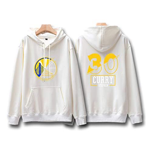SIMAYI # 30 Golden State Warriors Stephen Curry Basketball Trikot, Casual Sportswear Sweater Hoodie, Frühling und Herbst Dünn Kapuzenpullover, Geeignet für Fitness Freizeit Gehübungen,Weiß,L