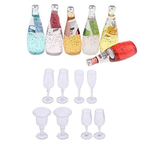 Toygogo 14 Piezas De Botellas De Cóctel En Miniatura Coloridas Y Kit De Gafas Transparentes Modelos De Decoración De La Barra De Pub para La Casa De Muñecas 1