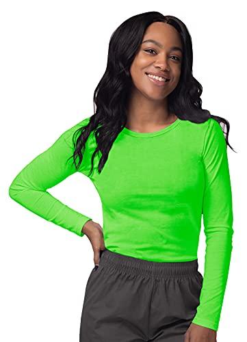 SIVVAN Scrubs for Women - Long Sleeve Comfort Underscrub Tee - S8500 - Neon Lime Green - M