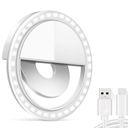 Anillo de luz Selfie, Selfie Light 36 LED Aro de Luz para Móvil, Flash Anillo Selfie Clip por Modelos Samsung iPhone, aro de luz para Selfie, Maquillaje, Youtube, TiKTok(USB Recargable)