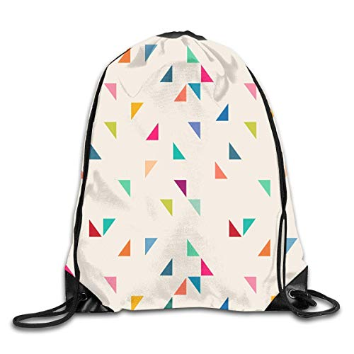 OPLKJ Kordelzug Rucksack Gym Bag Reiserucksack Dreieck Geometrisches Muster Kleine Kordelzug Rucksäcke Frauen Männer ErwachseneKrawallentasche Sport Gym Rucksack Gym Tasche für Männer und Frauen