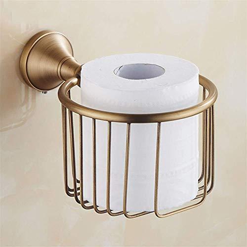 Portarrollos de papel higiénico vintage montado en la pared, latón, rollo de baño, dispensador de canasta de alambre para pañuelos, soporte para rollo de papel tisú para almacenamiento en el