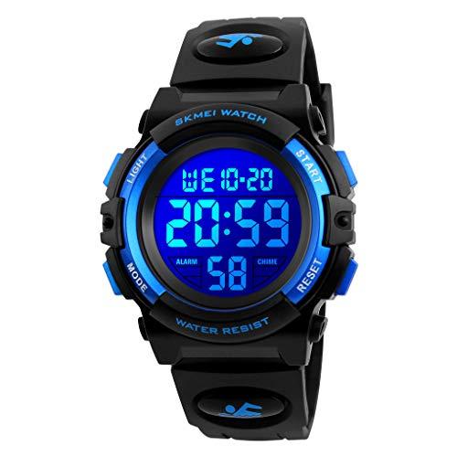Kid's Digital Watch Outdoor Sports 50M Waterproof Electronic Watches Alarm Clock 12/24 H Stopwatch Calendar Boy Wristwatch - Black Blue
