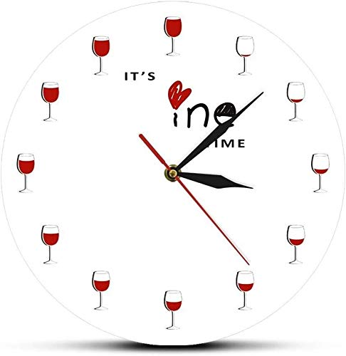 ZHPBHD 30x30cm Reloj de Pared Tiempo de Vino Reloj de Pared de Cuarzo del Reloj silencioso Restaurante Mural Vidrio de Vino Rojo impresión Bebedor del Vino Arte de la Cocina