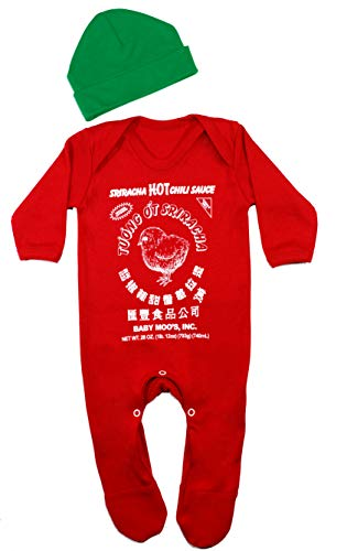 Sriracha - Conjunto de pijama y gorro para beb para nios o nias | Bonito traje de salsa de chile  Regalo para beb o regalo de primer cumpleaos o idea de disfraz | BABY MOO'S UK (0-3 meses)