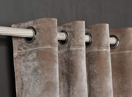 PimpamTex Blickdichter Samtvorhang, 1 Stück Ösenvorhang, Kälteabweisender Stoff, Verdunklungsgardine aus erstklassigem Samt für Wohnzimmer, Schlafzimmer (140 x 280 cm, Sandgelb)