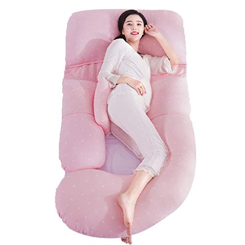 Oreiller pour Femme Enceinte Clôture pour Enfant Oreiller De Couchage Côté Taille Oreiller d'allaitement Post-Partum Oreiller en Forme De U Oreiller De Soutien pour L'estomac (Color : Pink b)