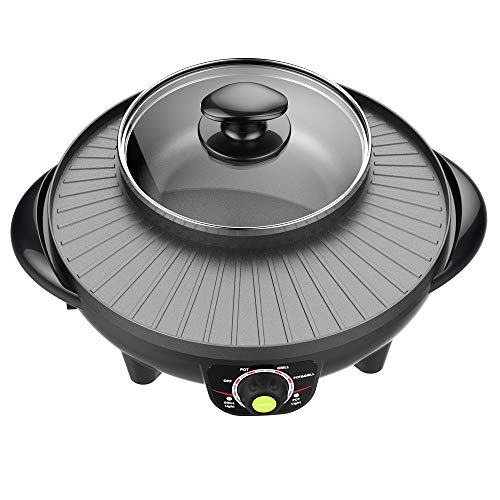 LIVEN Electric Grill with Hot Pot, Non-stick coating surface, Hot Pot with Glass Lid,1300W 120V...