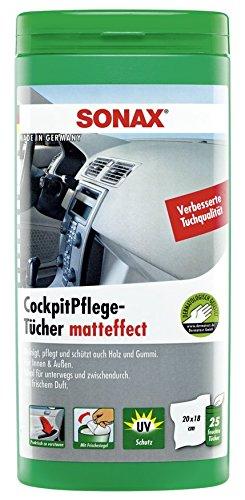 SONAX CockpitPflegeTücher Matteffect Box (25 Stück) Feuchte Tücher reinigen, pflegen und schützen alle Kunststoffteile, Holz und Gummi | Art-Nr. 04158410