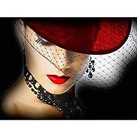 ダイヤモンドペインティング5dレディウィズハットダイヤモンド刺繍フルディスプレイダイヤモンドモザイククロスステッチラインストーン装飾の写真
