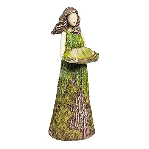 Sherwood Fern Fairy Statuary with Bird Feeder, Hummingbird Feeder Stand with Base for Patio, Tree Fern Bird Girl Portrait Statue Spring Garden Sculptures Bird Feeder Art Outdoor Decor Lawn Ornaments