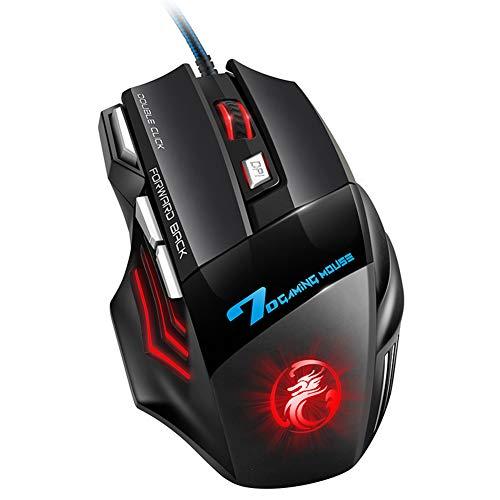 AOUVIK Juego de ratón de computadora Ratón ergonómico para Juegos, ratón para Juegos con Cable USB 5500 dpi Ratones silenciosos con retroiluminación LED 7 Botones para PC portátil