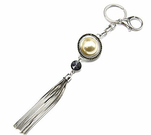PT872F-Llavero, diseño de joya de Bolsa de perlas brillantes, color negro con...